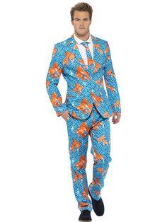 men's suit, flamingos | Mens Goldfish Suit Deluxe Fun Blue & Orange Fancy Dress Costume ALL ...