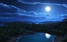Paisaje nocturno con luna llena