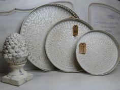 *Tablett*Metall*Vintage*Cottage*Antikbraun*Shabby*Antikweiß*Cremè*Landhaus* in Möbel & Wohnen, Dekoration, Sonstige   eBay