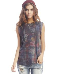 April Roll-Cuff Floral Tank // this shirt with spike/ chain necklace would be cute