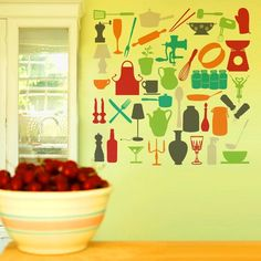 so cute for the kitchen - vinyl wall decals - pick your own colors, keep them together or spread them out!