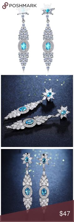 """🆕 Swarovski Crystals Blue Dangle Earrings DF100 ‼️ PRICE FIRM ‼️ 10% DISCOUNT ON 2 OR MORE ITEMS FROM MY CLOSET ‼️   Handmade Drop Earrings With Swarovski Crystal  Retail $124  To say that this is a spectacular pair of earrings would be an understatement. Beautifully & skillfully handcrafted using the finest Swarovski crystals with a 14K white gold overlay. Approximately 2.1"""" long. These earrings are unbelievably gorgeous! Please check my closet for many more items including designer…"""