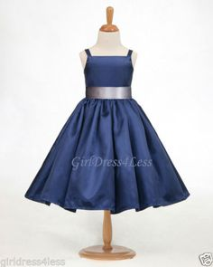 New Navy Blue Spaghetti Straps Flower Girl Dress | eBay