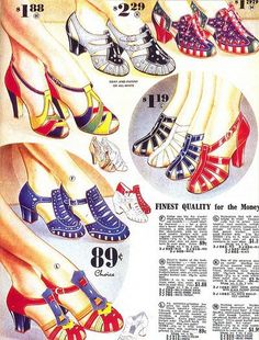 Mid 30s era vintage fashion style print ad shoes heels pumps sandals multi colored two tone red yellow green blue grey white black primary colors Publicidad de zapatos- 1934.