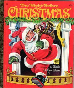 Vintage THE NIGHT BEFORE CHRISTMAS Little Golden Book Malvern Illustrations NICE