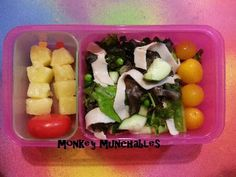 #MonkeyMunchables - Shaken #Salad. Fast and easy! 10 minutes or less! #bento #lunch #kids #monkey #munchables #ideas