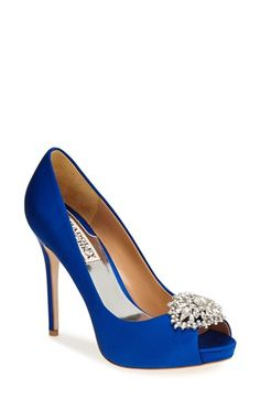 Free shipping and returns on Badgley Mischka 'Jeannie' Crystal Trim Open Toe Pump (Women) at Nordstrom.com. An exquisite open-toe pump is crowned with a sparkling crystal brooch. The perfect choice for a special evening.