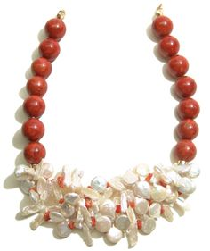 Red Sponge Coral with coin and stick Fresh Water Pearls and red coral.