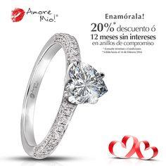 d76ccffa45d1 Amore Mio! ANILLOS DE COMPROMISO · Anillo de Oro Blanco 18kt Diamante-  Corazón de 0.51 quilates. Color- E