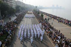 Crowd gathered at Mumbai's Marine drive to see Republic day parade on Sunday.