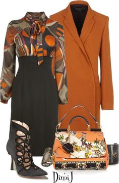 Love this blouse. The solid orange of the jacket might be too much for my olive complexion and it's a little long.