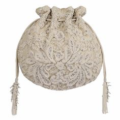 Baroque Potli Ivory – Lovetobag Pearl Design, Drawstring Pouch, Baroque Fashion, Baroque Pearls, Ivory, Pure Products, Chain, Beads, Shop