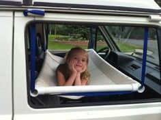 Make a fron-tseat hammock from PVC pipe for the kids.