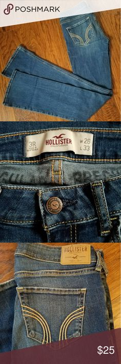 HOLLISTER Jeans 3R (W26 / L33) EUC EUC Pre Loved Hollister Jeans! Well Cared for, Minimal signs of Wear!  Sz - 3R, W26 / L33 Slight Bootcut  So incredibly Soft!  Natural fading intended in jean  Med Blue Denim  Bundle and Save  Adding lots of new items!! Hollister Jeans Boot Cut