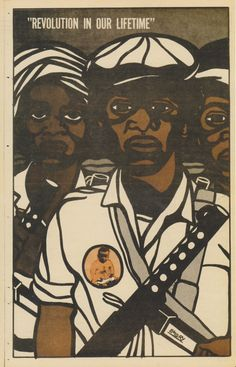 """Revolution in Our Lifetime""    This print is by Emory Douglas, a pivotal figure in the development of political graphic art. Appointed ""Minister for Culture"" for The Black Panther Party in 1967, he became in-house illustrator for the movement's eponymous newspaper. Douglas' instantly recognizable graphics filled the journal and would form its back page, a 'cut out and paste up' propaganda poster."