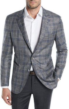 Shop Men's Two-Tone Plaid Jacket from BOSS at Neiman Marcus Last Call, where you'll save as much as on designer fashions. Plaid Jacket, Knit Jacket, Mens Fashion Suits, Men's Fashion, Blazer Outfits Men, Hugo Boss Suit, Boss Man, Sports Jacket, Blazers For Men