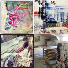 Jessica Zoob, British Contemporary Artist painting in her Art Studio : Jessica Zoob - British Contemporary Artist