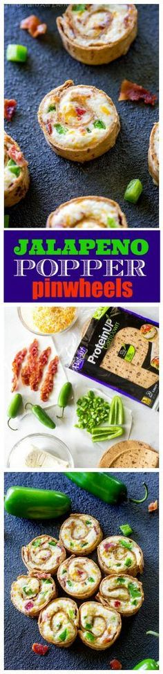These Jalapeno Popper Pinwheels are a spicy appetizer that can be served hot or cold (I prefer them hot)! Cream cheese, cheddar, bacon, and jalapeno all rolled up in a little pinwheel. These are alway