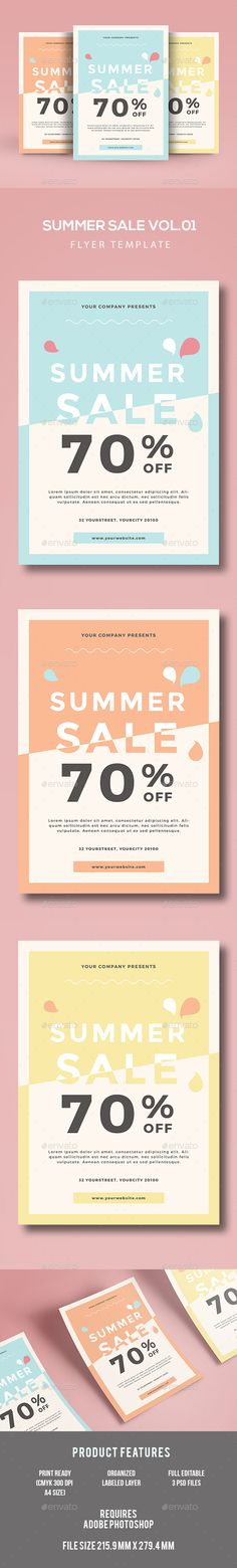 Summer Sale Flyer Template PSD. Download here: http://graphicriver.net/item/summer-sale-flyer/16814623?ref=ksioks