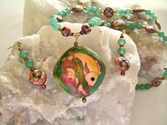 Pink & Green Cloisonne Enamel Fish Necklace, with Green Aventurine Stone Beads and Pink Cloisonne Flower Beads, Matching Dangle Earrings