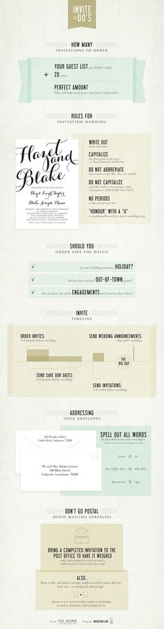 A complete wedding invitation checklist to dos, all you need to know about wedding invitations in one infographic! Via val marie paper  http://www.modwedding.com/2014/10/07/6-super-helpful-infographics-answer-questions-wedding-invitations/ #wedding #weddings #wedding_invitation