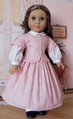 Mid 1800's Day Dress Fits 18 American Girl by KeepersDollyDuds