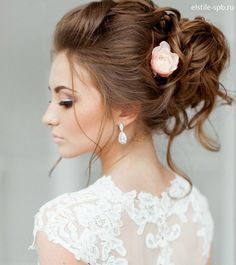 Elegant tousled updo with single flower ~ we ❤ this! moncheribridals.com