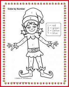 Elf Color By Number Christmas School Christmas Color