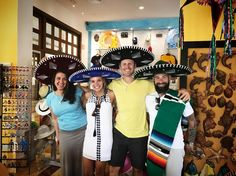 """Rarely do I post from my phone however I wanted to share this pic of Kari and I in Cancun with our #bride and #groom goofing off in the gift shop. These two have become friends and we're so fortunate to be here to shoot their #wedding! More """"real"""" pics to come..."""