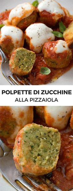 """Zucchini """"meat"""" balls with pizza tomato sauce Veggie Recipes, Vegetarian Recipes, Cooking Recipes, Healthy Recipes, Cena Light, My Favorite Food, Favorite Recipes, International Recipes, Italian Recipes"""