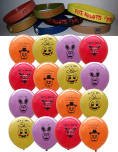 FNaF Combo Pack ~16 Balloons & 7 Bracelets~ Five Nights at Freddy's Kids Themed Birthday Party Favors, Decorations Supplies Freddys Game by Kimpartyshop on Etsy https://www.etsy.com/listing/291181231/fnaf-combo-pack-16-balloons-7-bracelets