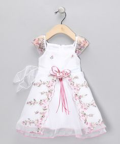 Look what I found on #zulily! Pink Floral Angel-Sleeve Dress - Infant by Chic Baby #zulilyfinds