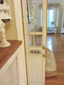 Salvaged sidelights used as interior kitchen doors!