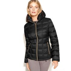 d1a1924e00 $190 MICHAEL KORS Quilted Packable Hooded Down Puffer Jacket Coat S Black  #fashion #clothing