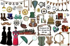 Steampunk Clip Art, 45 png files by FrankiesDaughtersDesign on @creativemarket
