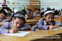 Gender quotes GA67: Barack Obama on girls education