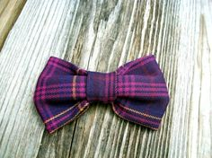 Plum and Navy plaid bow