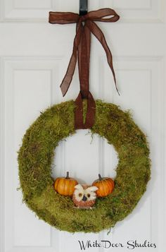 Fall Moss Wreath with Owl and Pumpkins, Front Door Wreath, Greenery Wreath, Autumn Wreath, Halloween, Thanksgiving