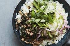 Chicken Mushroom Larb Bowls (with coconut rice!)