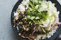 Chicken Mushroom Larb Bowls (with coconut rice!)