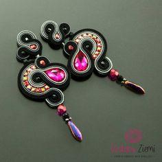 Long black pink earrings crystal dangle earrings gift for Pink Jewelry, Custom Jewelry, Jewelry Accessories, Handmade Jewelry, Handmade Necklaces, Black Earrings, Crystal Earrings, Beaded Earrings, Soutache Jewelry