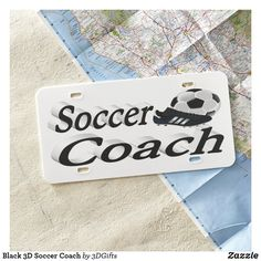 Black 3D Soccer Coach License Plate