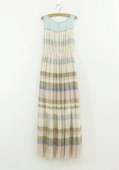 Multicolor Striped Print Pleated Sleeveless Chiffon Maxi Dress