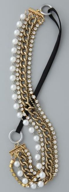Four Layered Pearl Rhinestone Chained necklace
