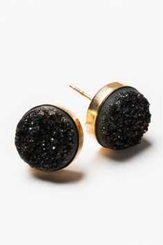 """You will receive so many compliments! Subtle sparkly black druzy gemstone stud earrings in gold. The perfect earring for every day or going from day to night. These may replace your """"go to"""" pair. Artisan jewelry and luxury bridal accessories handmade in Maryland by Alison Jefferies of J'Adorn Designs.  #druzyjewelry #druzyearrings #studearrings Artisan Jewelry, Handcrafted Jewelry, Handmade, Fall Wardrobe Essentials, Summer Wardrobe, Jewelry Shop, Custom Jewelry, Bridal Earrings, Stud Earrings"""