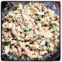 Cold Crab Pasta Salad - Creamy and delicious, this dish is the perfect addition to a BBQ or potluck dinner!