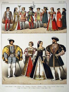 """Plate Tudor Era, French: Admiral d'Amboise, Anne of Brittany, Francis I Eleanor of Austria, Queen Claudia """"Costumes of All Nations"""" by Albert Kretschmer & Carl Rohrbach Mode Renaissance, Costume Renaissance, Elizabethan Costume, Medieval Costume, Renaissance Fashion, 16th Century Clothing, 16th Century Fashion, German Costume, French Costume"""