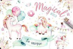 Magical world birthday unicorns balloons cute kids girl clip art watercolor illustrations Business Illustration, Pencil Illustration, Graphic Illustration, Unicorn Illustration, Clipart, Peace Art, Princess Cartoon, Pink Animals, Unicorn Art