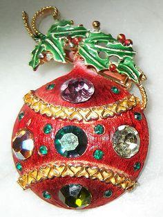Vintage Weiss Christmas Pin Rhinestones Red Ornament  Mistletoe Xmas | eBay