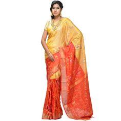 Orange and Yellow Uppada Silk Handloom Saree with All Over Mango Design u1095
